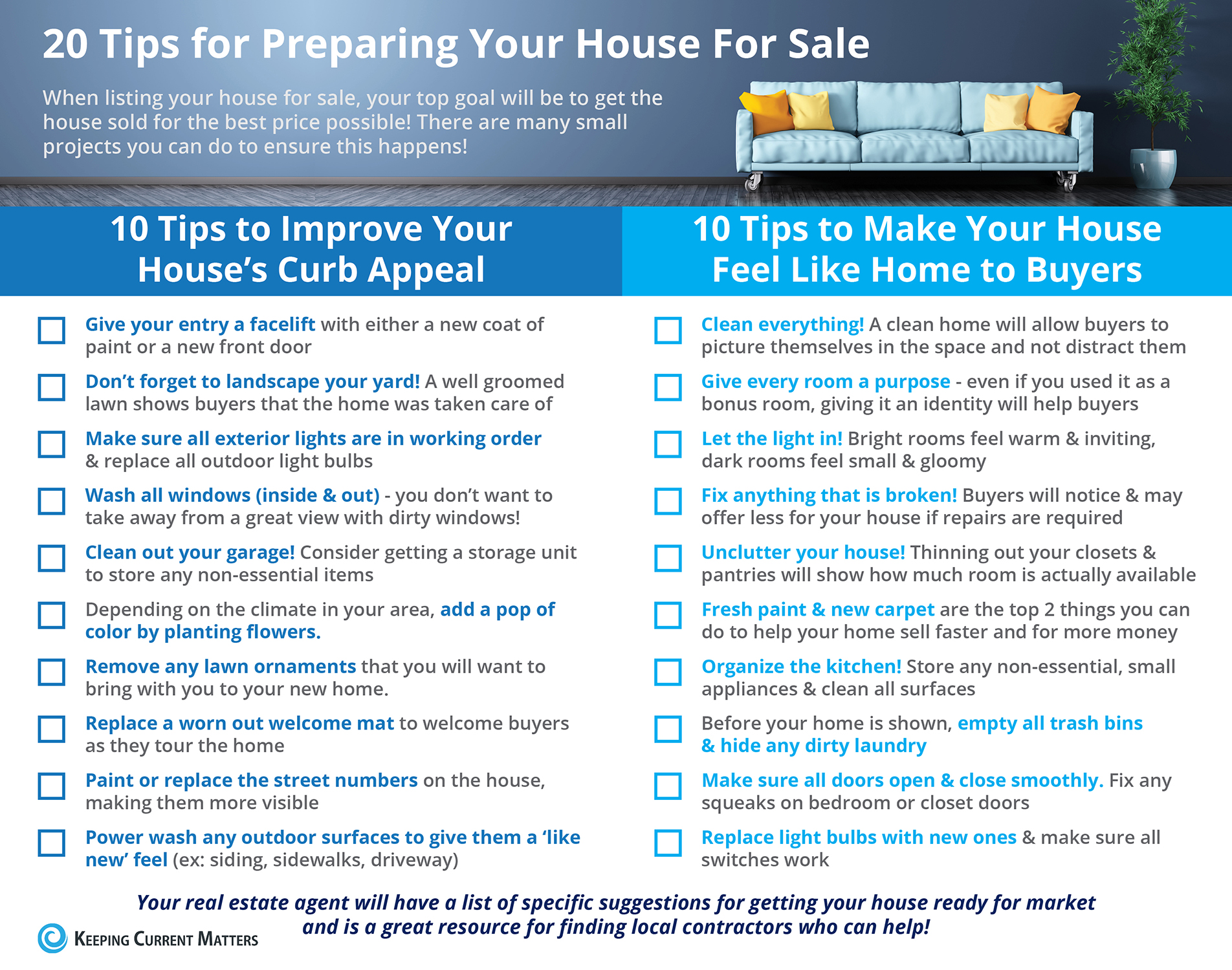 20 Tips for Preparing Your House for Sale. Improving Home's curb appeal and Tips to Make your house feel like home to buyers